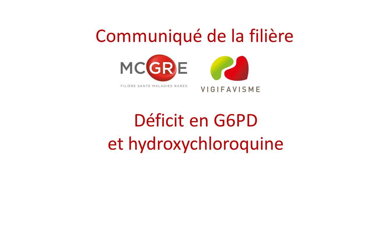 Déficit en G6PD et hydroxychloroquine : recommandations de la filière MCGRE